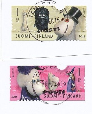 """Finland 2015 postally used """"moomin """" stamp set on paper cut"""