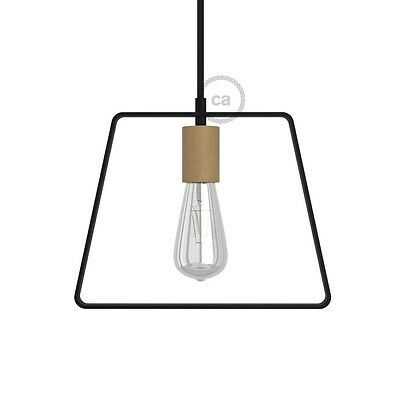 Metal Duedi Base lampshade - Black with wooden lamp holder cover and E27 lamp ho