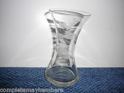 Pretty Vase etched with a butterfly and leaves dated 1931 J.M.B.