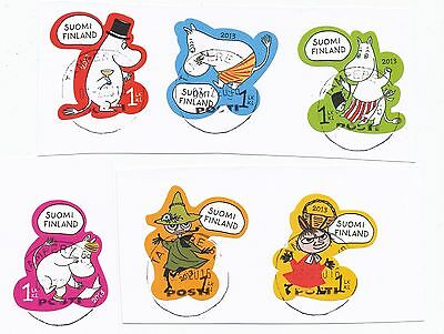 """Finland 2013 postally used """"moomins"""" stamp set on paper cut"""