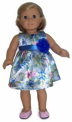 Light Blue Floral Satin Dress & Headband fits 18 inch American Girl Doll Clothes