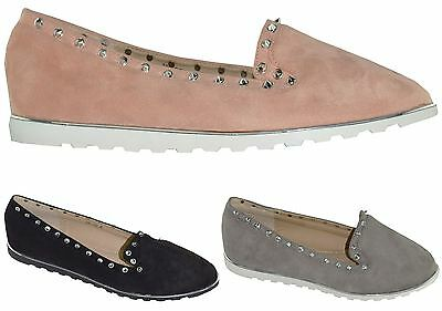 New Womens Ladies Diamante Studs Casual Suede Ballet Loafers Pumps Flat Shoes