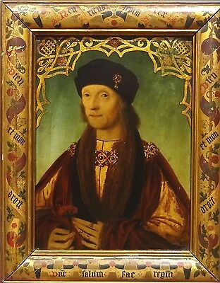 Fine Antique Portrait of a 16th Century King Henry VII Oil Panel Painting