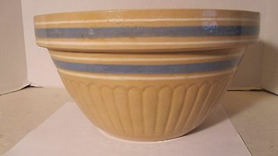 """Vintage Hull Yellow Stoneware Pottery Large 11"""" Mixing Bowl Blue & White Bands"""