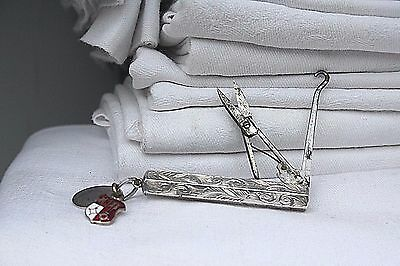 Folding Sewing Scissors & Hook  Antique Victorian Chester 1891 English Silver
