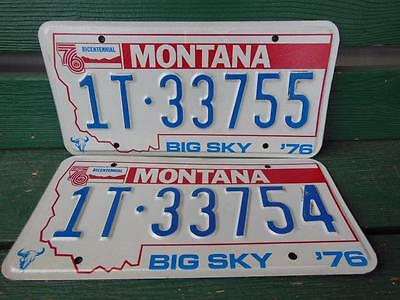 1976 Montana 1T-33755 & 1T-33754 Big Sky Bicentennial License Plate Pair Garage