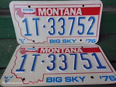 1976 Montana 1T-33752 & 1T-33751 Big Sky Bicentennial License Plate Pair Garage