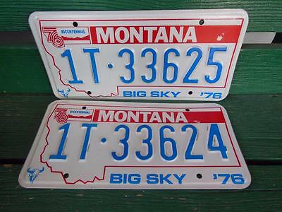 1976 Montana 1T-33625 & 1T-33624 Big Sky Bicentennial License Plate Pair Garage