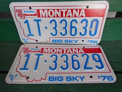 1976 Montana 1T-33630 & 1T-33629 Big Sky Bicentennial License Plate Pair Garage
