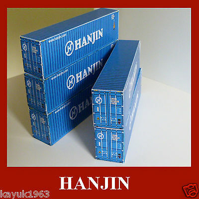 Hanjin, Hapag, Eucon OO Scale Model Shipping Container Card Kits x6 of the Best