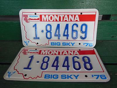 1976 Montana 1-84469 & 1-84468 Big Sky Bicentennial License Plate Pair Garage
