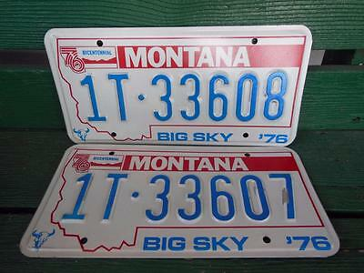1976 Montana 1T-33608 & 1T-33607 Big Sky Bicentennial License Plate Pair Garage