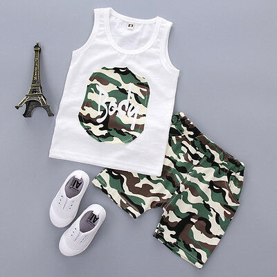 Summer Infant Newborn Baby Boy Camouflage T-Shirt Tops+Shorts Pants 2PCS Clothes