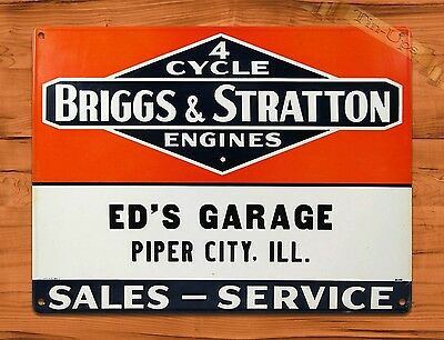 "TIN SIGN ""Briggs & Stratton Ed's Garage"" Rustic Engine Repair Wall Decor"