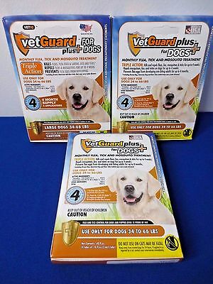 12 Months! Vetguard plus Dogs 34-66 lbs. Flea Tick & Mosquito Monthly Treatment