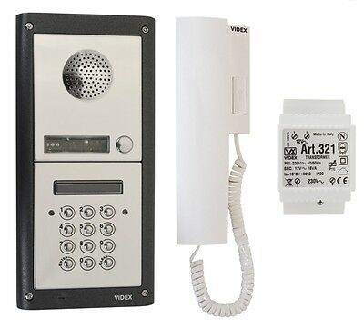 Videx 1 Way Audio Intercom Kit W/ Keypad Entry Panel, Door Release & Handset