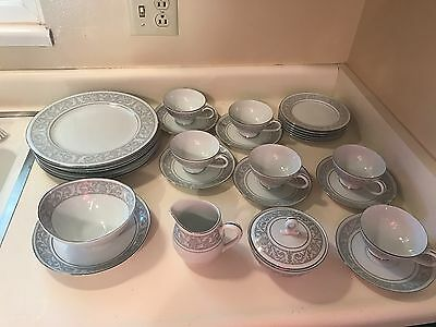 Imperial China WHITNEY 5671- W Dalton Gray Band Leaves- Service for 6- 27 Pieces