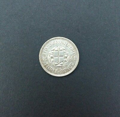 1941 Silver  3D Three Pence Great Britain English Uk Coin Rare King George