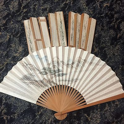 Lot of 10 vintage Chinese Fans hand painted pretty asian nature NOS