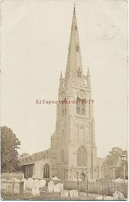 Cambs Whittlesey Church nr Peterborough Real Photo Vintage Postcard 27.6