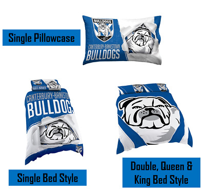 Canterbury Bulldogs NRL Pillow Quilt Cover Set: Single, Double, Queen & King Bed