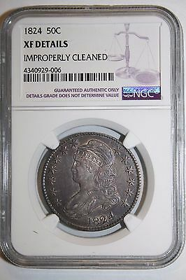 1824 Bust Silver Half Dollar XF Details NGC #06