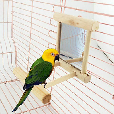 Funny Bird Toy Mirror with Wooden Frame Stand Perch Platform for Parrots Vogel