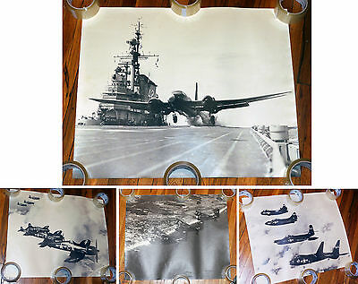 """Four 24""""x20"""" official orig. U.S. Navy 1951 photos jet fighters, carrier"""