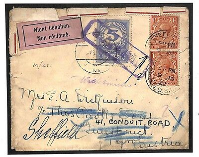 TT199 1922 GB Austria Forwarding agents Underpaid Returned to Sheffield Cook PTS