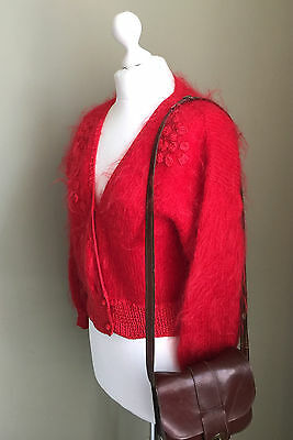 ON SALE - VINTAGE RED Soft MOHAIR Cardigan - Pom Pom Fluffy Cardigan - Size 10