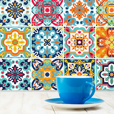 Tile Stickers 24 Pack Decals Vintage Mediterranean Portuguese Moroccan Style -T7