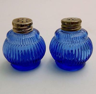 Pair of Vintage Ribbed Cobalt Blue Salt & Pepper Shakers
