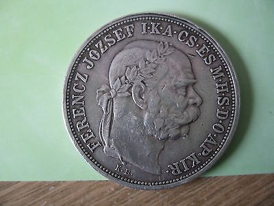 Hungary 5 Korona 1908 KB SILVER 28GM COIN FERENCE