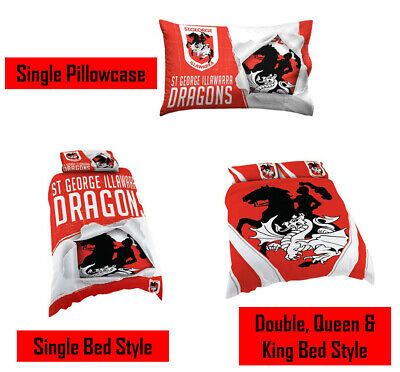 St George Dragons NRL Pillow Quilt Cover Set: Single, Double, Queen & King Bed