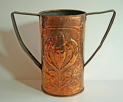 Antique large John Williams Arts & Crafts hammered copper cylindrical vase 1900