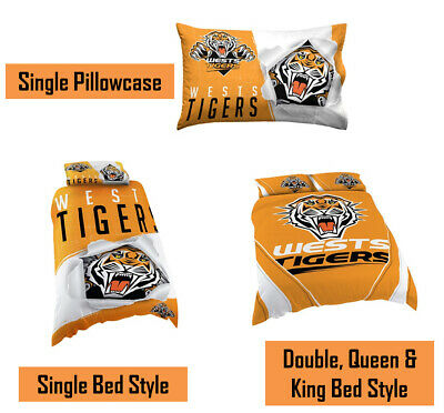 West Tigers NRL Pillow Quilt Cover Set: Single, Double, Queen & King Bed