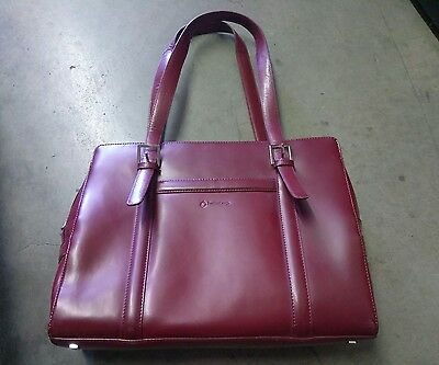 Franklin Covey Leather Briefcase Carry On Computer Laptop Bag