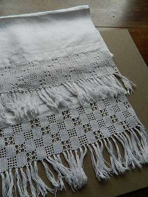 "Antique white Irish linen damask towel  crochet lace to both ends. 23"" x 50"""