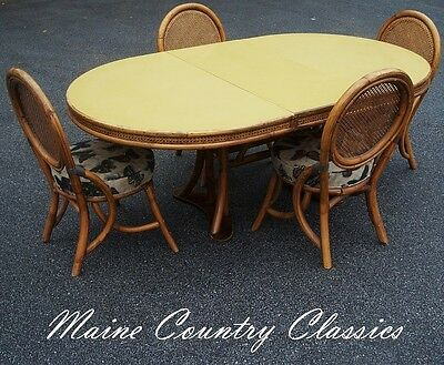 Vintage Rattan Cane & Formica Table & 4 Chairs Dining Set Mid Century Modern