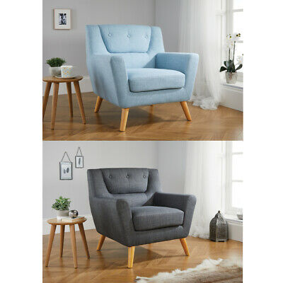 Lambeth Fabric Upholstered Chair in Duck Egg Blue or Grey