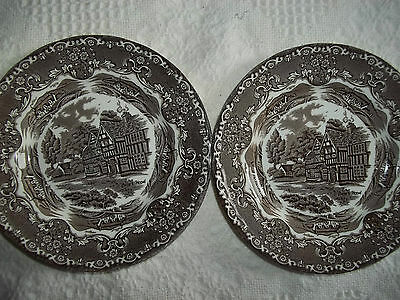 """2 VTG Grindley England Country Inns Brown Permanent colours Staffordshire 7""""2"""