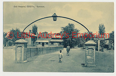 Old Postcard QUETTA Pakistan British India Civil Hospital Summer 1900s AL364