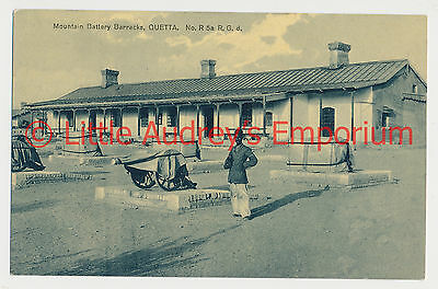 Old Postcard QUETTA Pakistan British India Mountain Battery Barracks 1900s AL350
