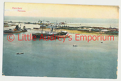 Old Postcard Egypt Port Said Panorama Colour Tinted 1900s AL380
