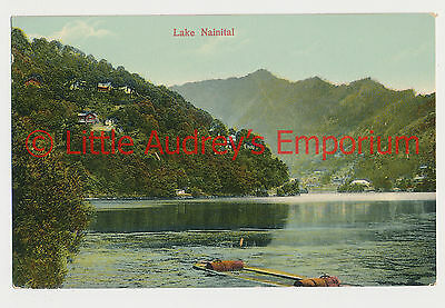 Old Postcard British India Lake Nainital Colour Tinted 1900s AL376