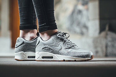 Women's Nike Air Max 90 Premium Safari Shoes Wolf Grey CROC 443817 011 NEW