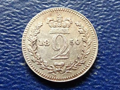 Queen Victoria Silver Maundy Twopence 1850 Great Britain Uk