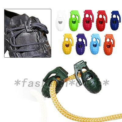 Hot 10PCS Shoelace Buckle Non-slip Hiking Stopper Rope Clip Clamp Cord Lock