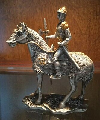 Vintage Pewter And Brass Armored Horse And Soldier - Detailed