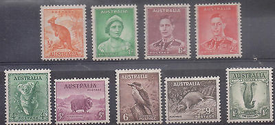 AUSTRALIA 1937/49 Set to 1/- (-3d) LM/Mint Good Cat £100+